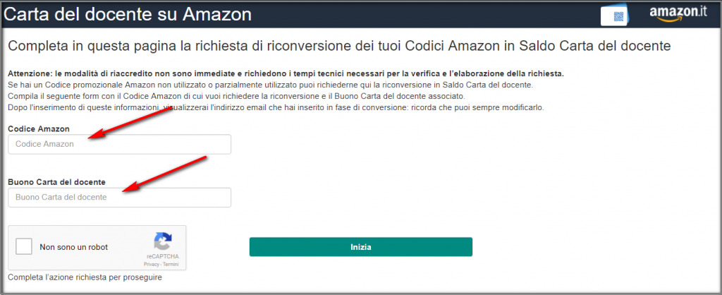 Come riconvertire un codice Amazon in saldo Carta del Docente