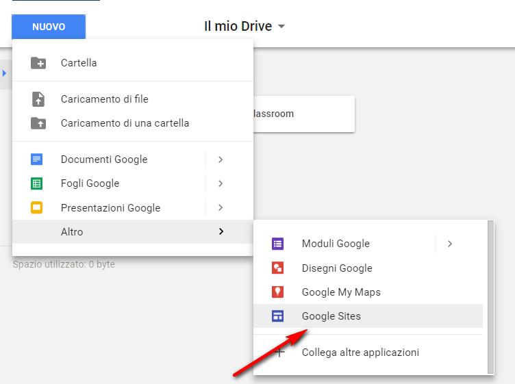 Aprire l'app Google Sites