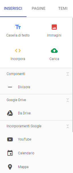 Aggiungere elementi in una pagina di Google Sites